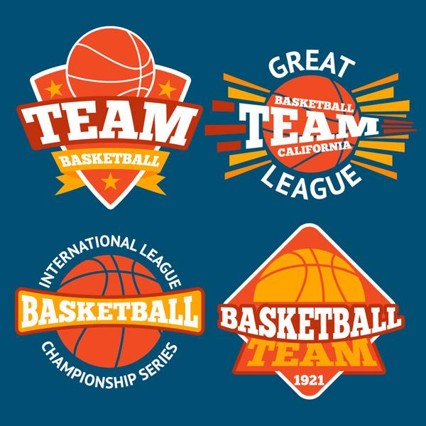 橙色篮球元素标签