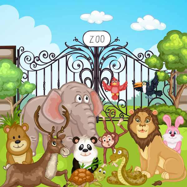 动物园大门和动物