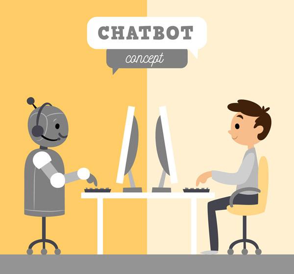 和机器人对话的男子