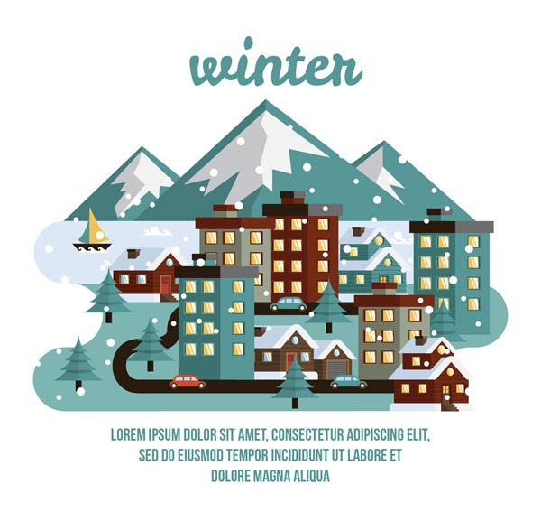 冬季小城建筑和道路