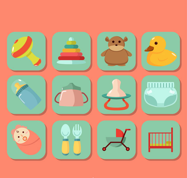婴儿用品贴纸图标