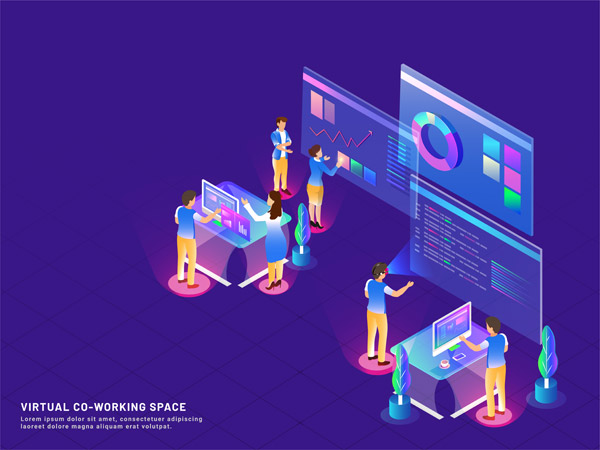 虚拟协同工作插画
