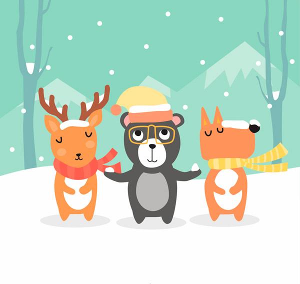 雪地里的森林小动物