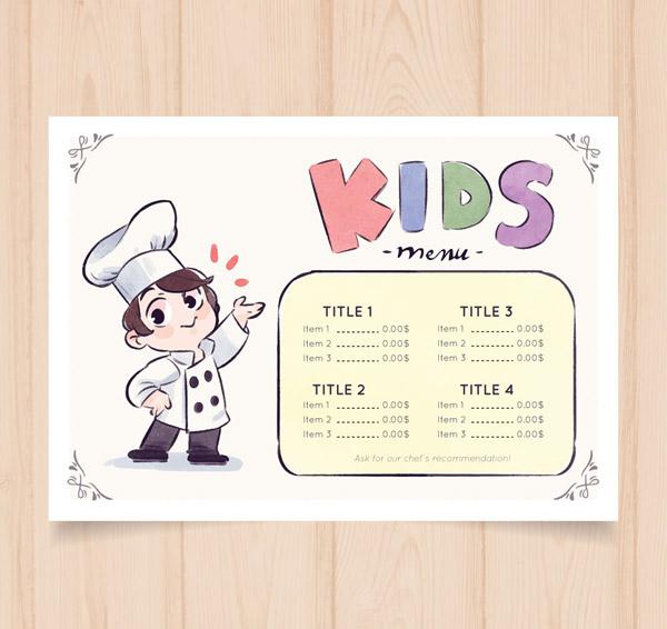 儿童菜单设计手绘