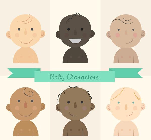 不同肤色婴儿