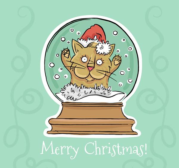 彩绘圣诞猫雪花