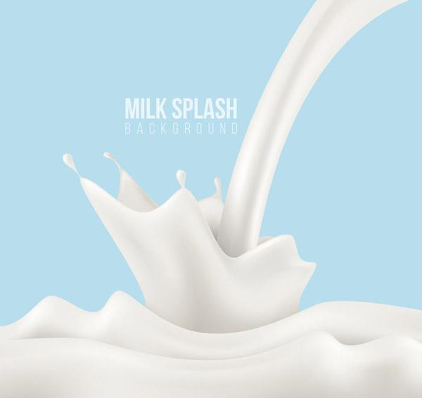 白色健康飞溅牛奶