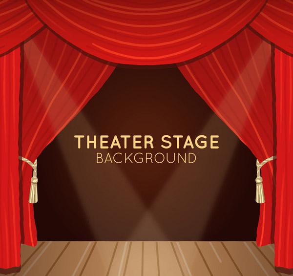 红色剧场幕布舞台