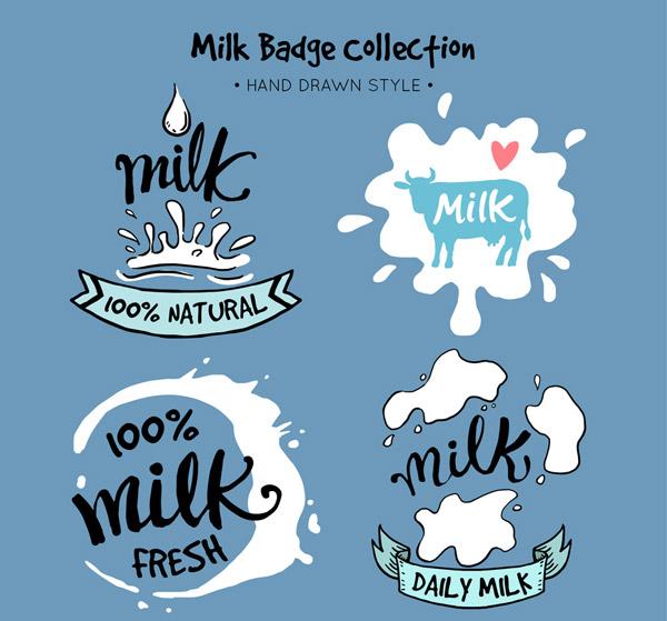手绘牛奶徽章