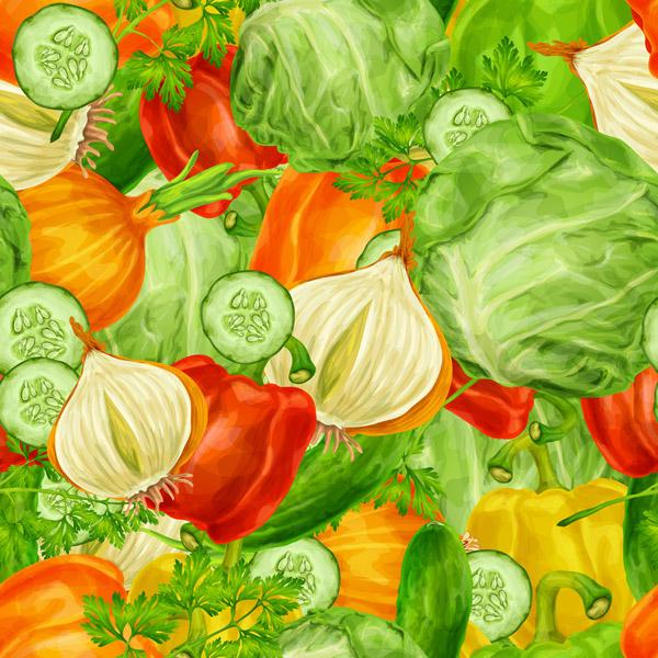 彩绘蔬菜无缝背景