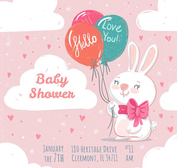 白兔迎婴派对海报