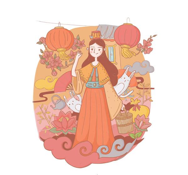 嫦娥和玉兔插画