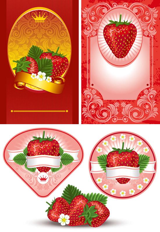 新鲜草莓,红色标签,装饰丝带,古典花纹,皇冠,放射性线条,花朵,绿叶图片