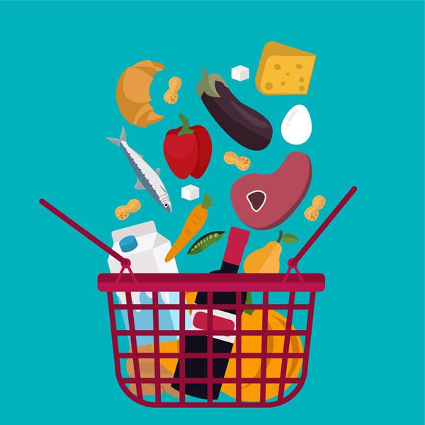 落满食物的购物篮