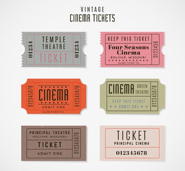 复古电影票设计