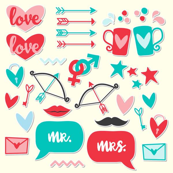 彩色爱情元素贴纸