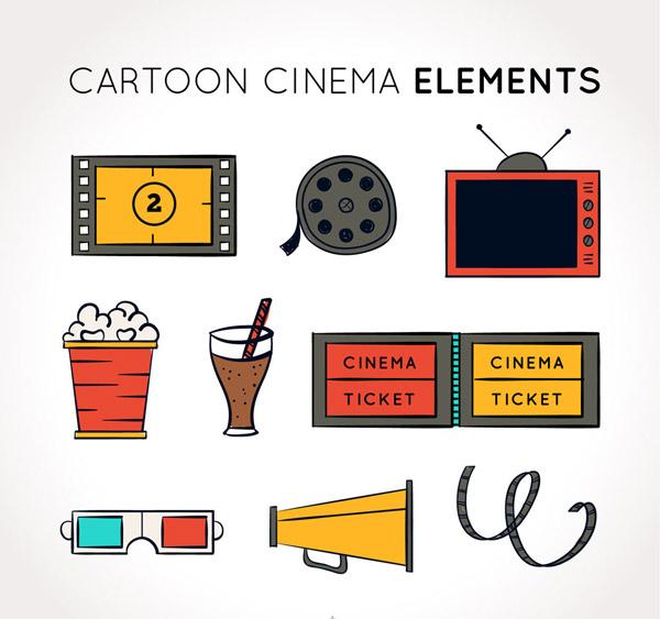 彩绘电影元素图标