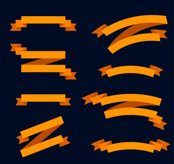 橙色丝带条幅矢量