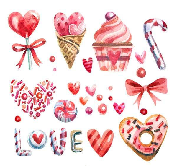 水彩绘爱心糖果