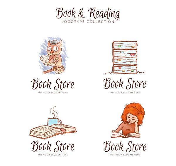 水彩绘书店标志