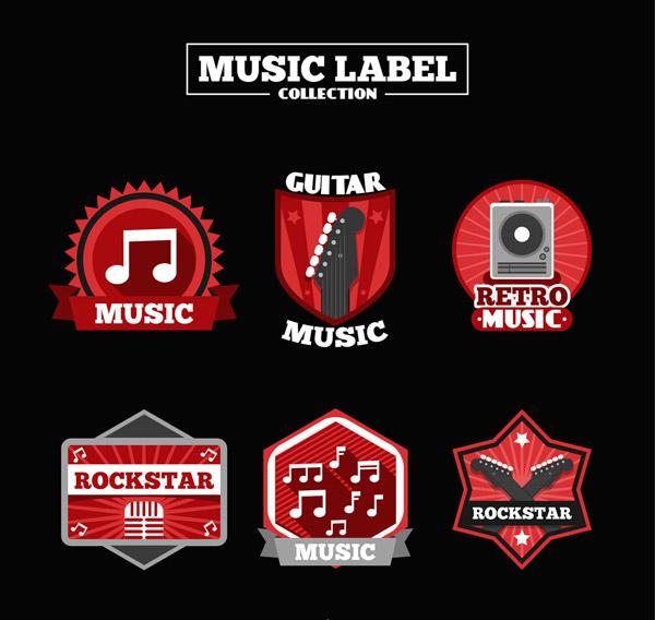 红色音乐元素标签
