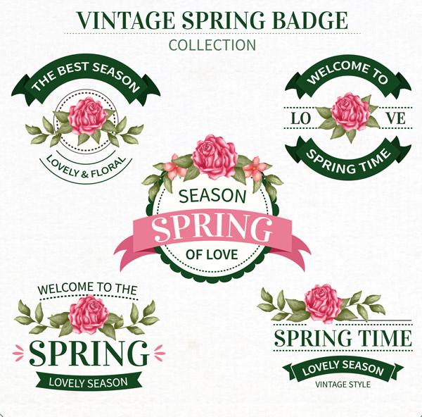 复古春季花卉徽章
