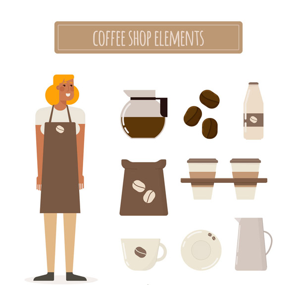 咖啡店元素矢量