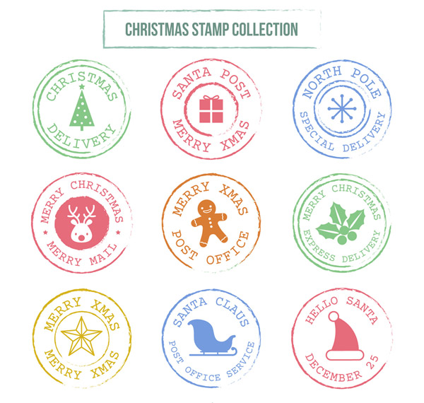 彩色圣诞节邮戳