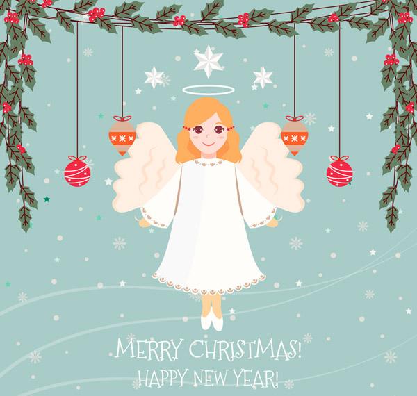 圣诞节天使贺卡