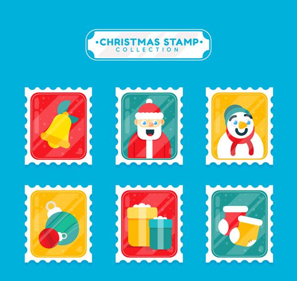 圣诞节邮票矢量