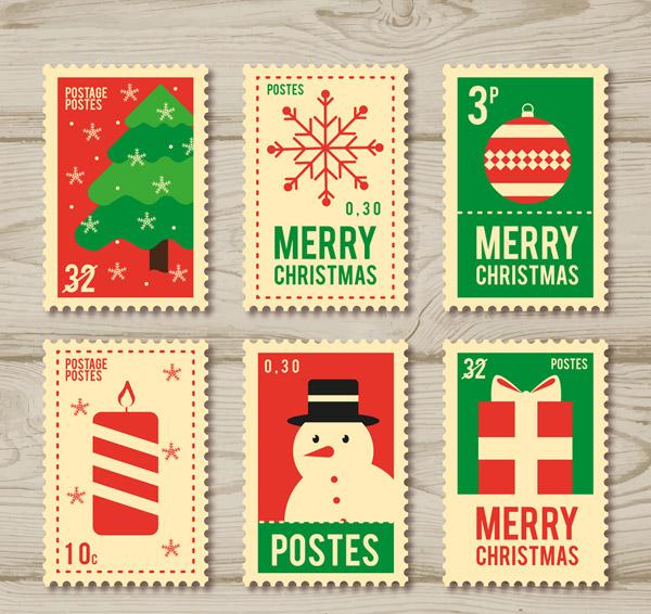 彩色圣诞节邮票