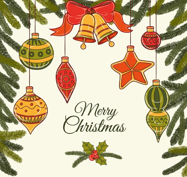 圣诞松枝吊球贺卡