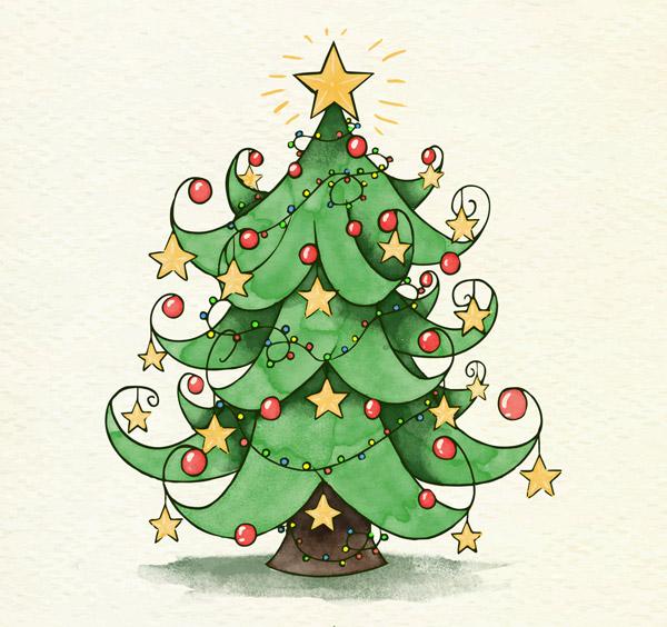 星星装饰圣诞树