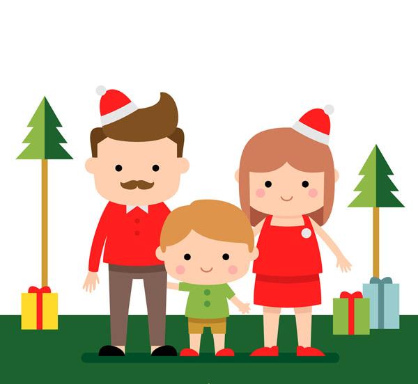 圣诞节一家三口