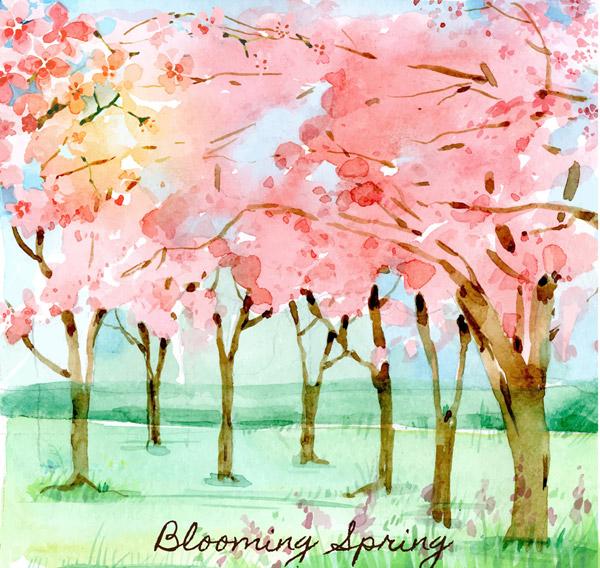 粉色樱花树林