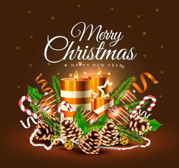 圣诞节蜡烛祝福卡