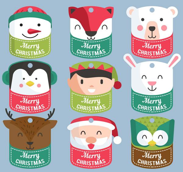 可爱圣诞角色吊牌