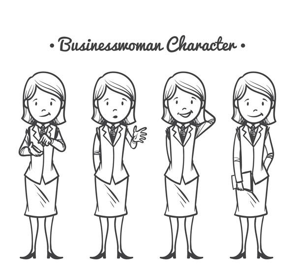 手绘商务女郎