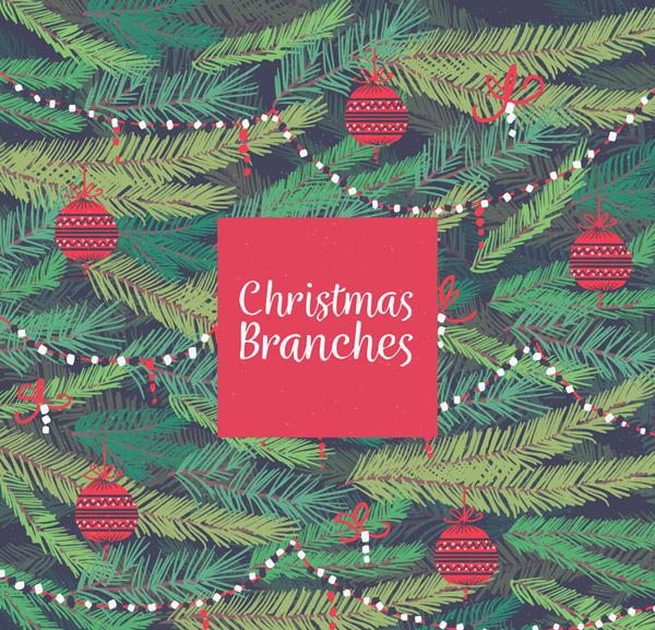 圣诞树枝矢量