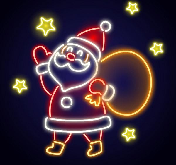 圣诞老人霓虹灯