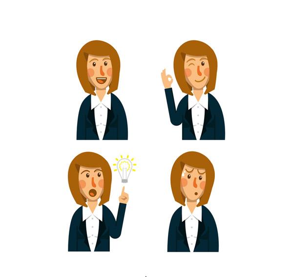 商务女子表情半身像