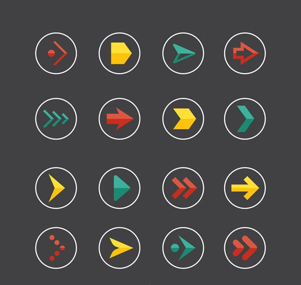 彩色圆形箭头图标
