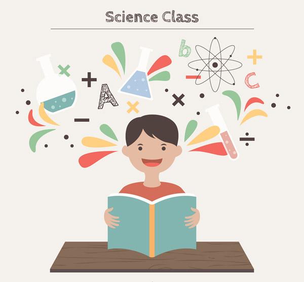 科学课堂上的男孩