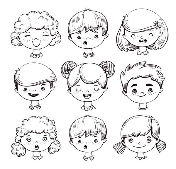 手绘可爱儿童头像