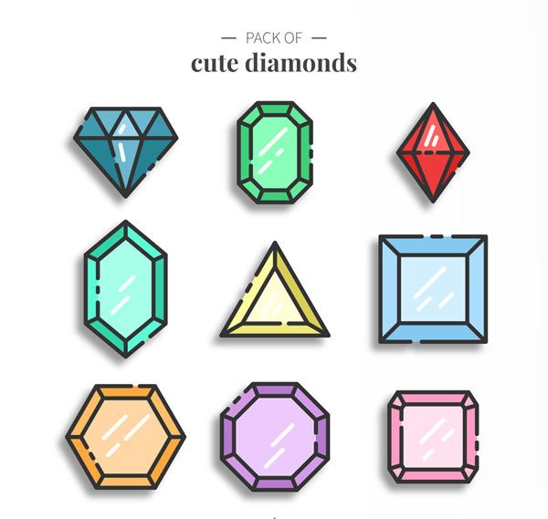 可爱彩色宝石