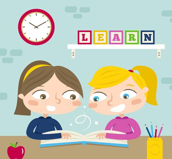 学习的2个女孩