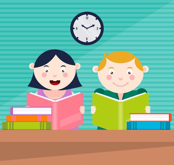 可爱读书学生