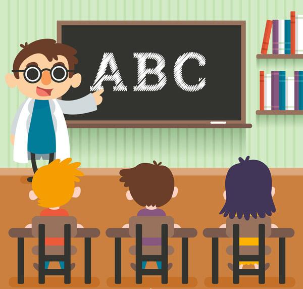 堂教师和学生矢量