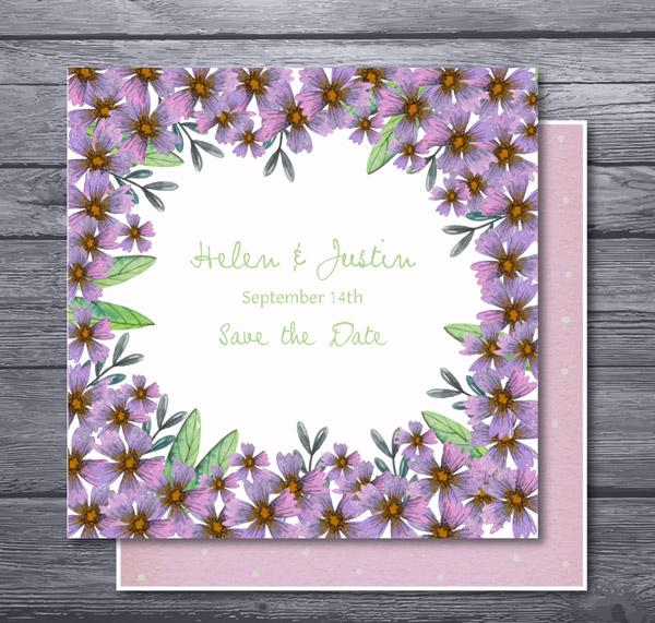 紫色花卉婚礼邀请卡