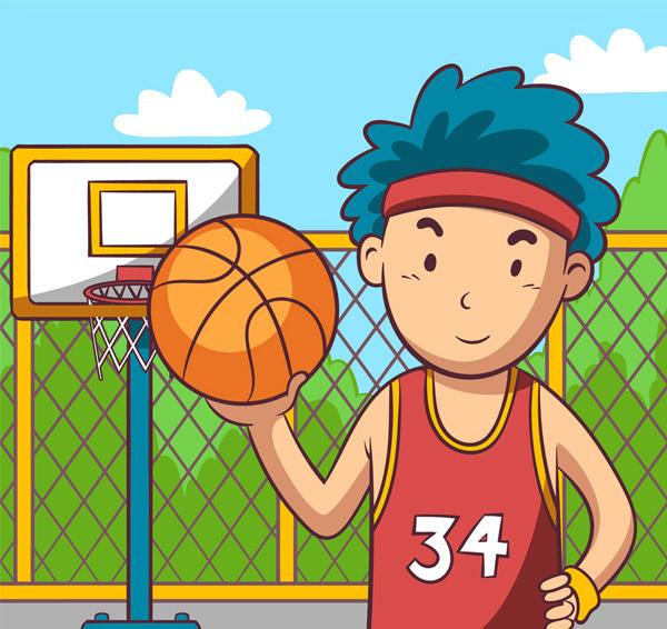 篮球场上的男子